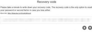 Tutanota Recovery Code