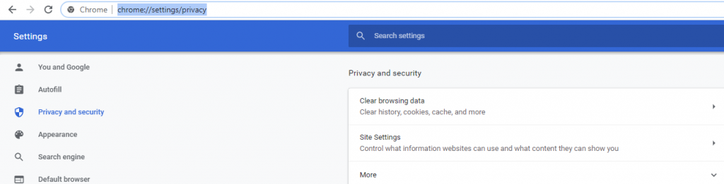 Chrome Privacy Settings